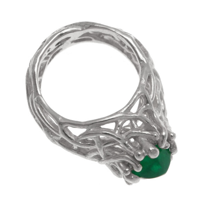 es.an.1– Sprout, silver, Colombian emerald ring, 950 silver