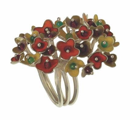 je.an.1– Spring Blossoms, ring, 950 silver, vitreous enamel, garnet, jadeite