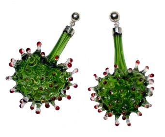 Germinate vitreous, earrings, borosilicate blown glass, 950 silver
