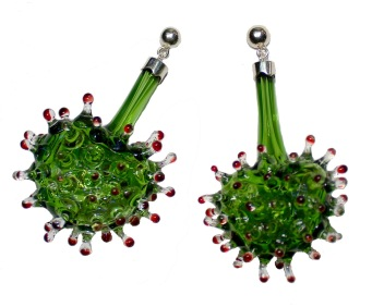 Germinate vitreous, earrings, borosilicate blown glass, 950 silver