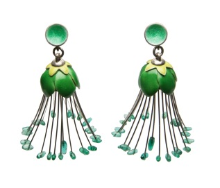 je.ar.8– Capparis, earrings, 950 silver, vitreous enamel, Colombian emerald