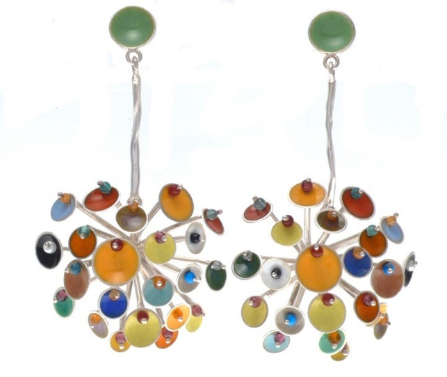 va.ar.1– Appearences, earrings, 950 silver, vitreous enamel, cornelian, onyx, turquoise, garnet, jadeite