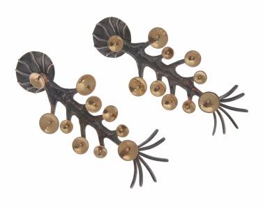 va.ar.8– Inverted tree, earrings, 18 carat yellow gold, 950 silver, patina