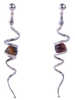 em.ar.2– Spirals in movement, earrings, 950 silver, tiger eye