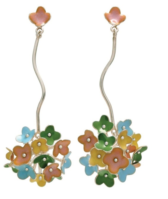 je.ar.2–Spring Blossoms, earrings, 950 silver, vitreous enamel