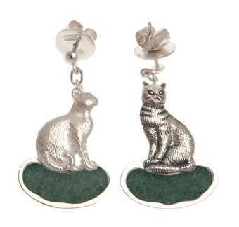 to.ar.1– Black and white cats, earrings, 950 silver, drusy agate, patina