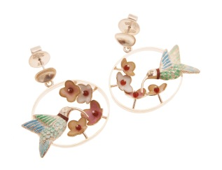 je.ar.9– Tiny Garden, earrings, 950 silver, vitreous enamel, cornelian