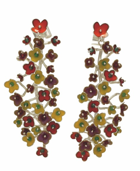 je.ar.3– Spring Blossoms, earrings, 950 silver, vitreous enamel, garnet, jadeite