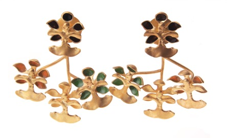 je.ar.11– Golden rain (orchid), earrings, 950 silver, 24 karat gold plated, vitreous enamel