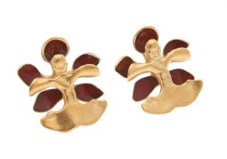 je.ar.12– Golden rain (orchid), earrings, 950 silver, 24 karat gold plated, vitreous enamel