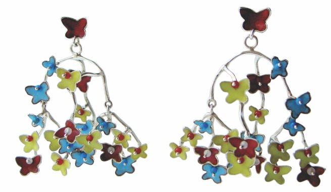 va.ar.4– Migrations, earrings, 950 silver, vitreous enamel, turquoise, cornelian, rose quartz