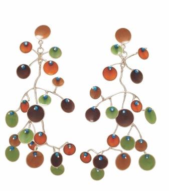 va.ar.5– Eolian, earrings, 950 silver, vitreous enamel, turquoise