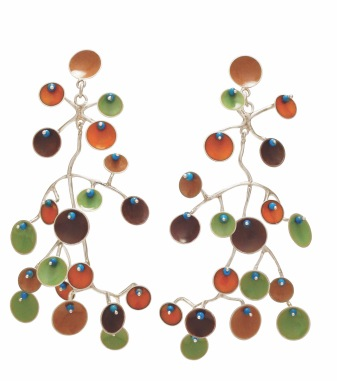 va.ar.5– Eolian, earrings, 950 silver, vitreous enamel, turquoise