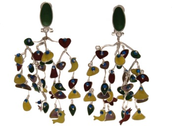 va.ar.2– Flapping, earrings, 950 silver, vitreous enamel, turquoise