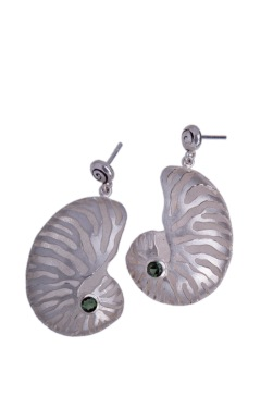 em.ar.3– Golden spiral, earrings, 950 silver, garnet, green tourmaline