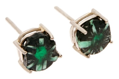 es.ar.5– Mineral bloom, earrings, 18 karat palladium grey gold, rough emerald trapiche (rarity of Colombian emerald, unique in the world)