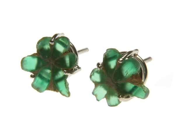 es.ar.6– Green bloom, earrings, 18 karat palladium grey gold, rough emerald trapiche (rarity of Colombian emerald, unique in the world)