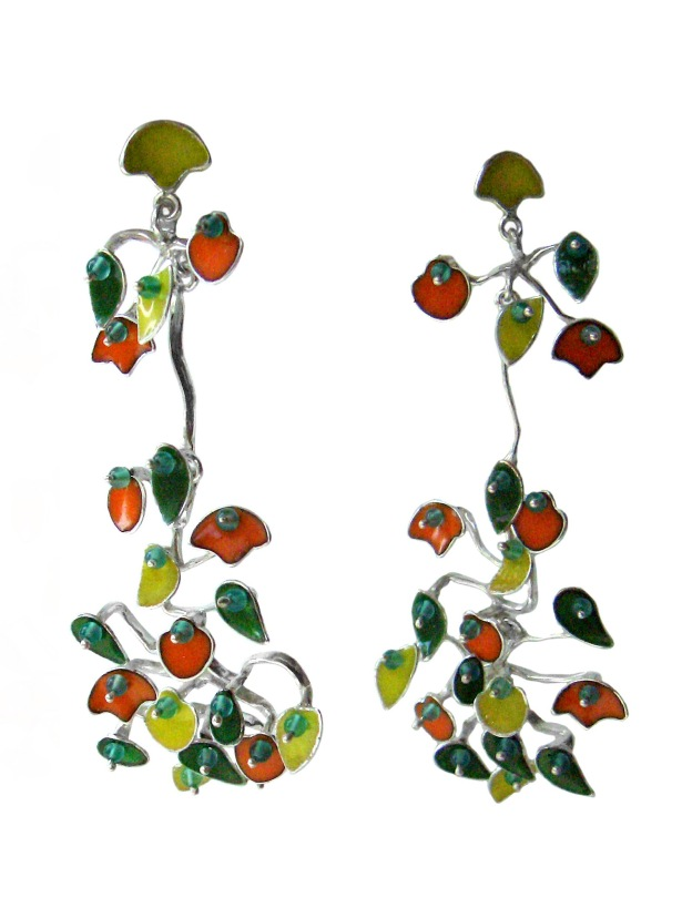 va.ar.6– The currents of color, earrings, 950 silver, vitreous enamel, jadeite