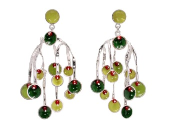 va.ar.3– Sea currents, earrings, 950 silver, vitreous enamel, cornelian