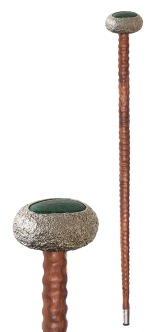 em.ba.1– Waterhole, cane, 950 silver, patina, Colombian emerald, okendo wood
