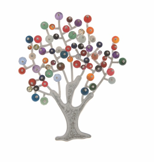va.br.1– Tree of joy, brooch, 950 silver, cornelian, turquoise, amazonite