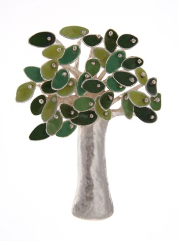 va.br.3– Breeze on the branches, brooch, 950 silver, vitreous enamel