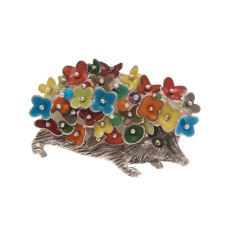 to.br.2– Porcuflower, brooch, 950 silver, vitreous enamel, patina