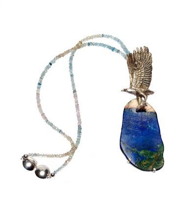 em.co.6– Eagle, necklace, 950 silver, 24 karat gold plated, patina, malachite azurite, aquamarine