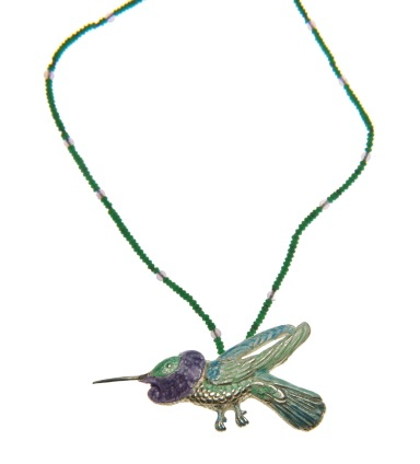 to.co.1– Hummingbird, necklace, 950 silver, vitreous enamel, malachite, amethyst