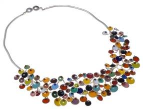 va.co.1– Fluorescences, necklace, 950 silver, vitreous enamel, cornelian, onyx, turquoise, garnet, jadeite, rose quartz