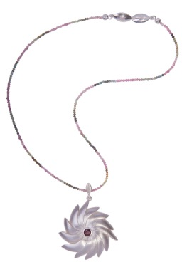 em.co.7– Spiral flower, necklace, 950 silver, garnet, tourmaline