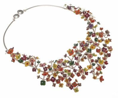 je.co.1– Spring Blossoms, necklace, 950 silver, vitreous enamel, cornelian, jadeite, garnet, rose quartz