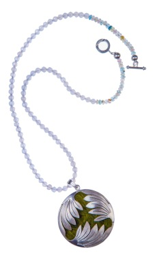 em.co.8– Winged spiral, necklace, 950 silver, aquamarine, feathers