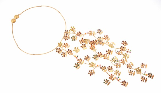 je.co.3– Golden rain (orchid), necklace, 950 silver, 24 karat gold plated, vitreous enamel, cornelian, jadeite, amethyst