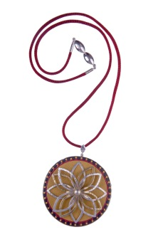 em.co.9– Lotuscope, pendant, 950 silver, 24 karat gold, cow horn, mopa-mopa (Colombian natural resin), silk cord with steel mesh