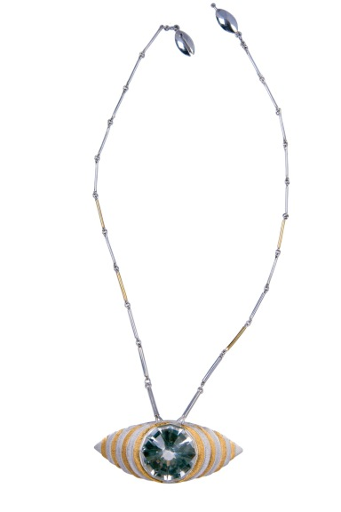 em.co.2– The underside of the gaze, necklace, 24 karat gold, 950 silver, Colombian hyaline quartz