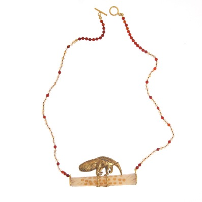 to.co.6– Anteater, necklace, 950 silver, 24 karat gold plated, patina, citrine, cornelian, bone