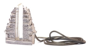 em.co.3– Portal, pendant, 950 silver, Colombian hyaline quartz, patina, silk cord with steel mesh