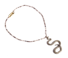 to.co.7– Snake, necklace, 950 silver, 24 karat gold plated, patina, smoky quartz