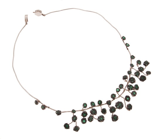es.co.1– Green blooms, necklace, 18 karat palladium grey gold, rough emerald trapiche (rarity of Colombian emerald, unique in the world)