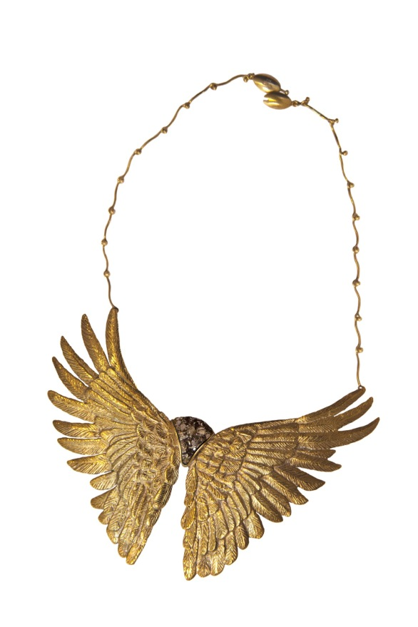 em.co.4– Magical flight, necklace, 950 silver, 24 karat gold plated, patina, pyrite