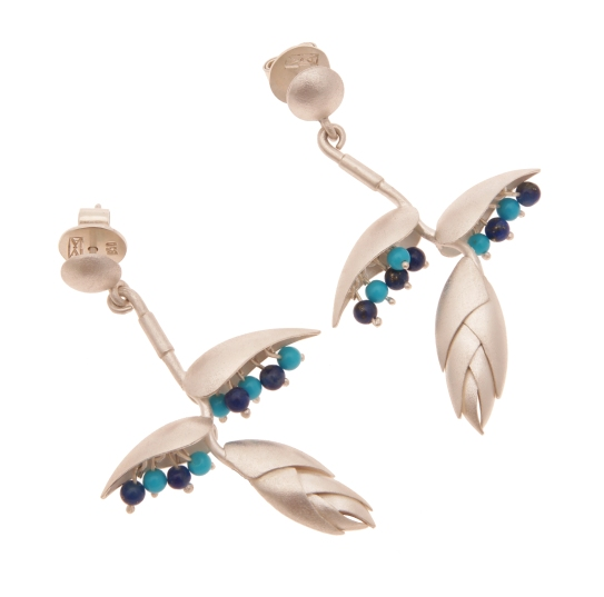 je.ar.5– Heliconia, earrings, 950 silver, turquoise, lapis lazuli