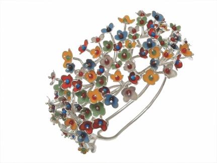 je.pu.1– Spring Blossoms, bracelet, 950 silver, cornelian jadeite