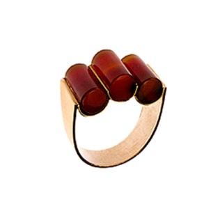 wa.an.5– Ishó (Blood of life), ring, 18 karat red gold, red cornelian