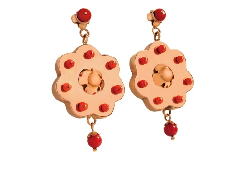 wa.ar.4– Süsii (Desert flowers), earrings, 18 karat red gold, recycled red coral
