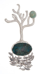 dp.br.1– Landscape, brooch, 950 silver, patina, amazonite, turquoise