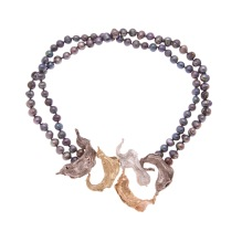 dp.co.1– Fragments leaves, necklace, 18 karat yellow gold, 18 karat red gold, 18 karat palladium grey gold, 950 silver, baroque pearls