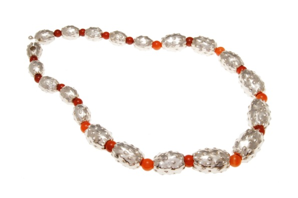 dp.co.5– Harvest fruit, necklace, 950 silver, orange cornelian