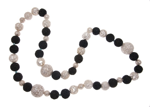 dp.co.4– Volcanic necklace, 950 silver, lava rock
