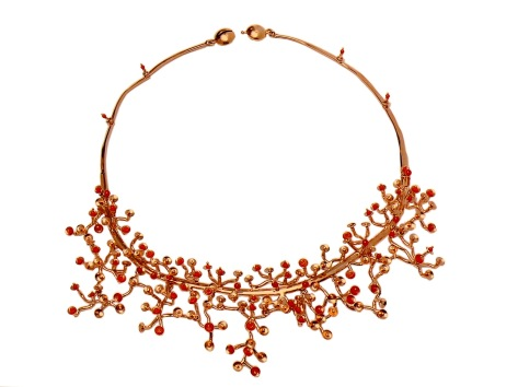 wa.co.2– Shimainkaluya (Heritage of gold and coral), necklace, 18 karat red gold, recycled red coral